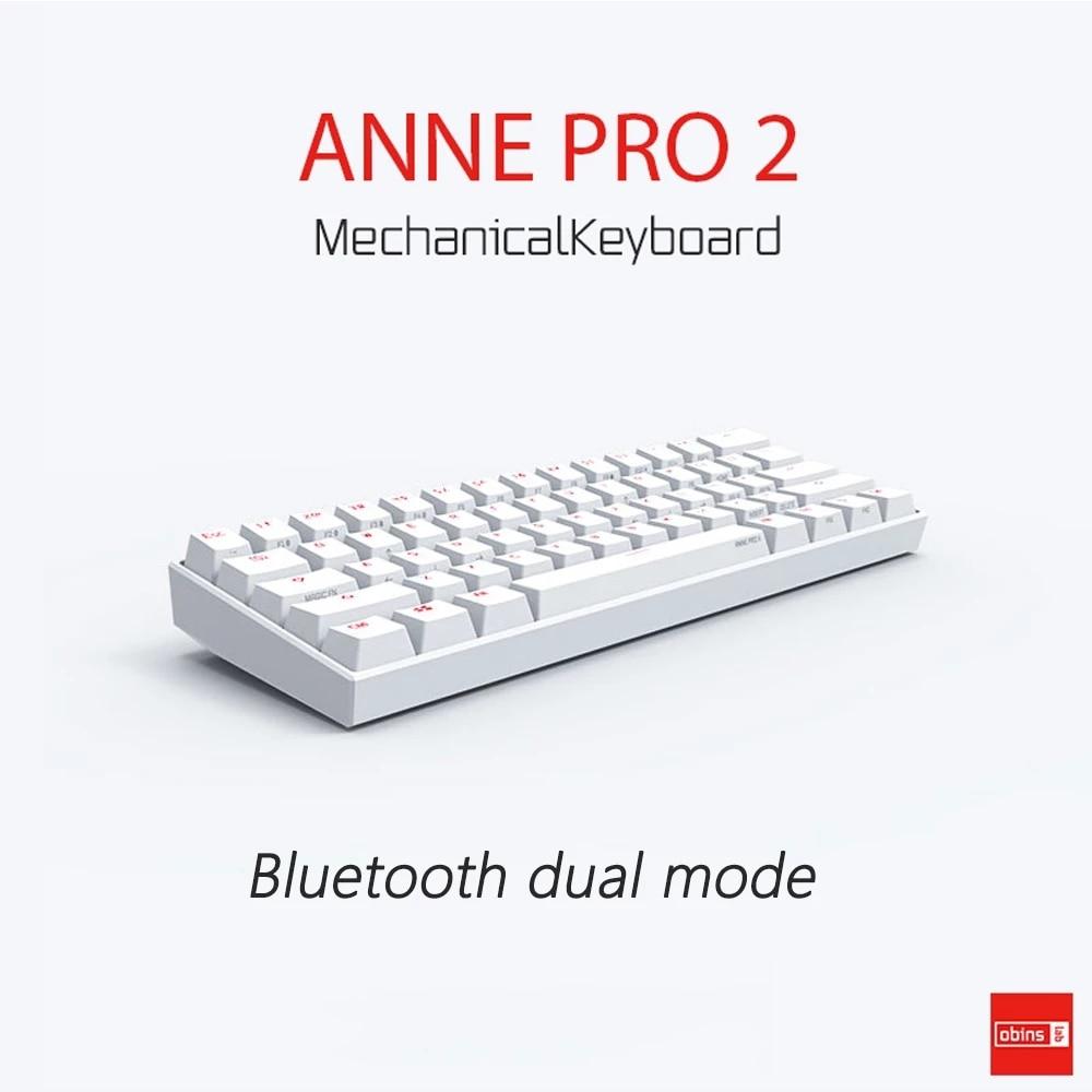 Anne Pro 2 Pro2 60%-لوحة مفاتيح الألعاب الميكانيكية, 61 مفتاح NKRO بلوتوث 5.0 من النوع C RGB ، مفاتيح الألعاب الميكانيكية ، مفاتيح Cherry Gateron ، مفاتيح Kailh