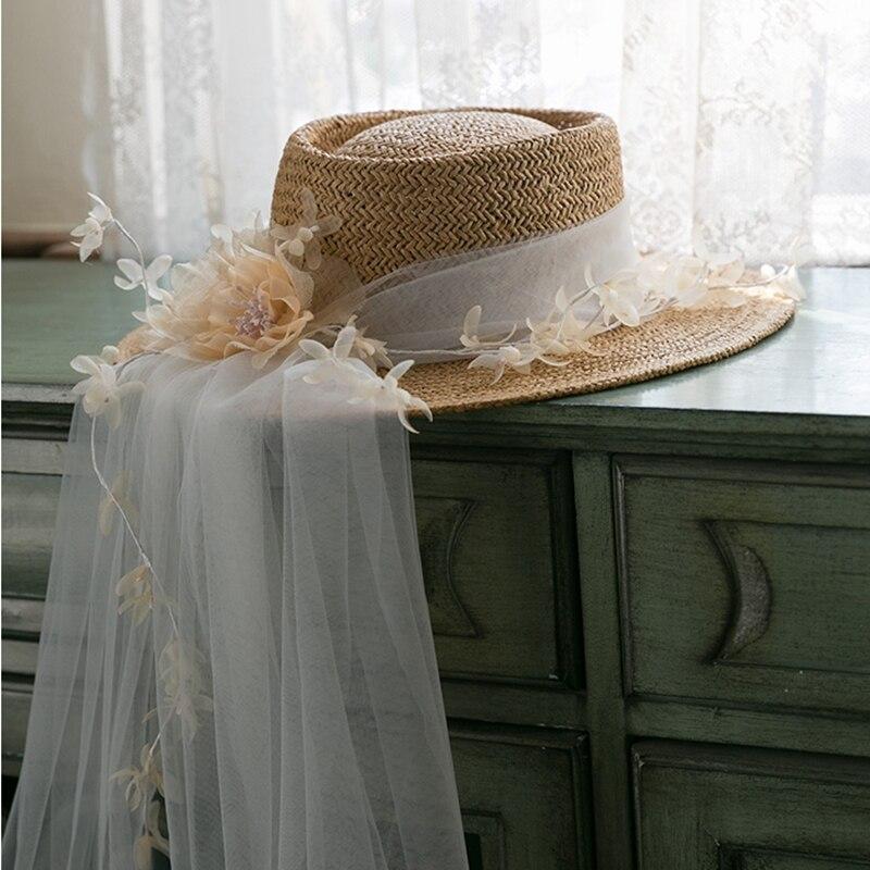 جديد براون المرأة قبعة الشمس خمر اليد محبوك قبعة بيردي مع الحجاب العروس غطاء الرأس نوفيا الإكسسوارات