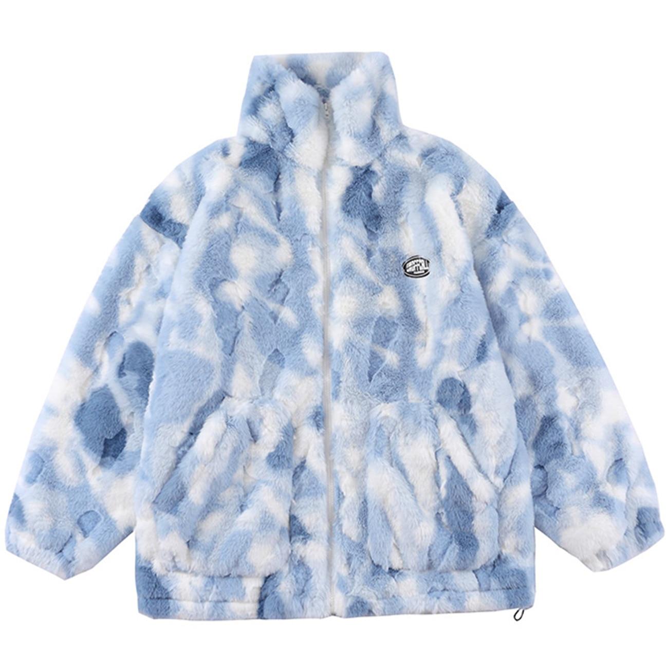 Гибкая зимняя куртка для мужчин и женщин, фланелевая шерстяная куртка, пальто, уличная одежда, парка на молнии с принтом, хлопковая свободна...