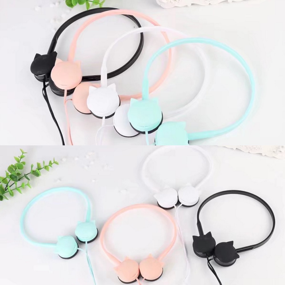 Cute Face Cat Over-Ear Stereo Headphone With Microphone Children Daughter Earpieces airdots Muisc Earphones With Retail Package enlarge