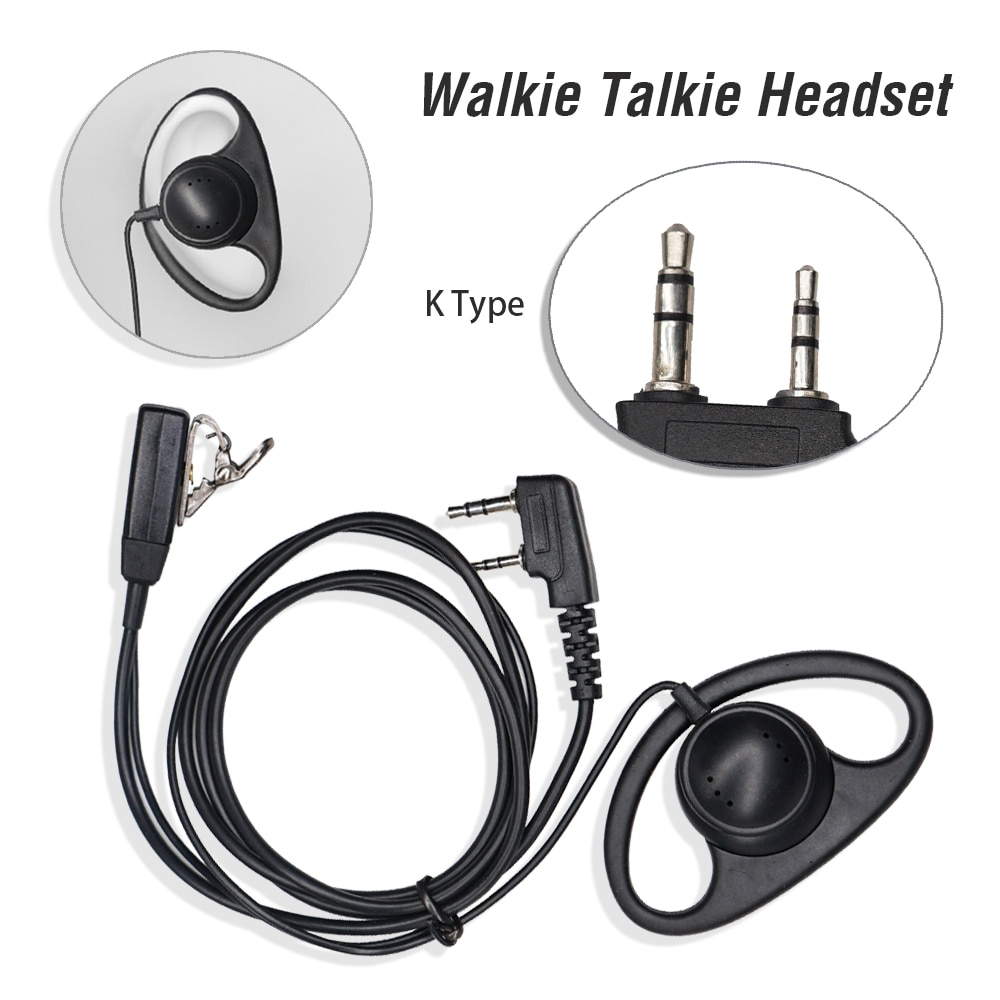 D-type Soft Ear Hook Headset 2Pin PTT Mic Earpiece Walkie Talkie Earphone For Baofeng BF-888S UV-5R UV-82 UV-8D Two Way Radio