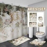 Roses papillon fleur rideaux de douche impermeable salle de bain rideau toilette couverture tapis anti-derapant tapis ensemble pour baignoire decor