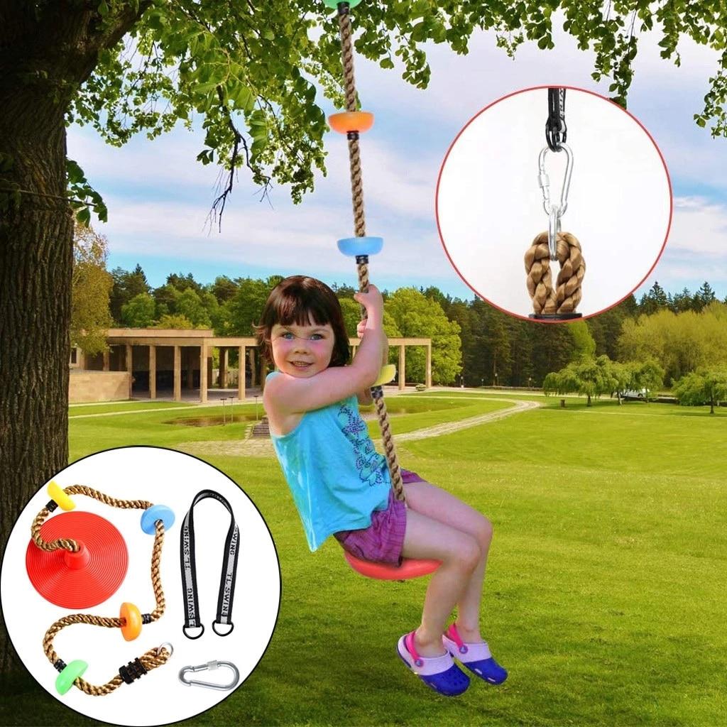 Детские качели для деревьев, скалолазание, веревка с платформой, регулируемые дисковые качели для деревьев, уличные и комнатные качели, Наб...
