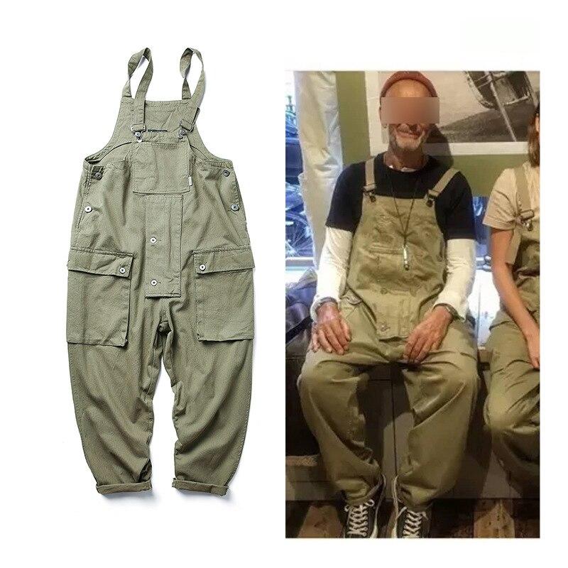 Style! Men Streetwear Work Cargo Pants Jumpsuit Men's Dungarees Baggy Bib Trousers