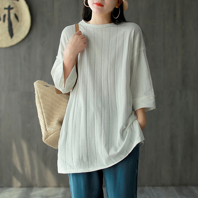 NINI WONDERLAND Spring Cotton Knit T Shirt For Woman Loose Half Sleeve Long T Shirts 2020 Summer Solid Striped Irregular Tops