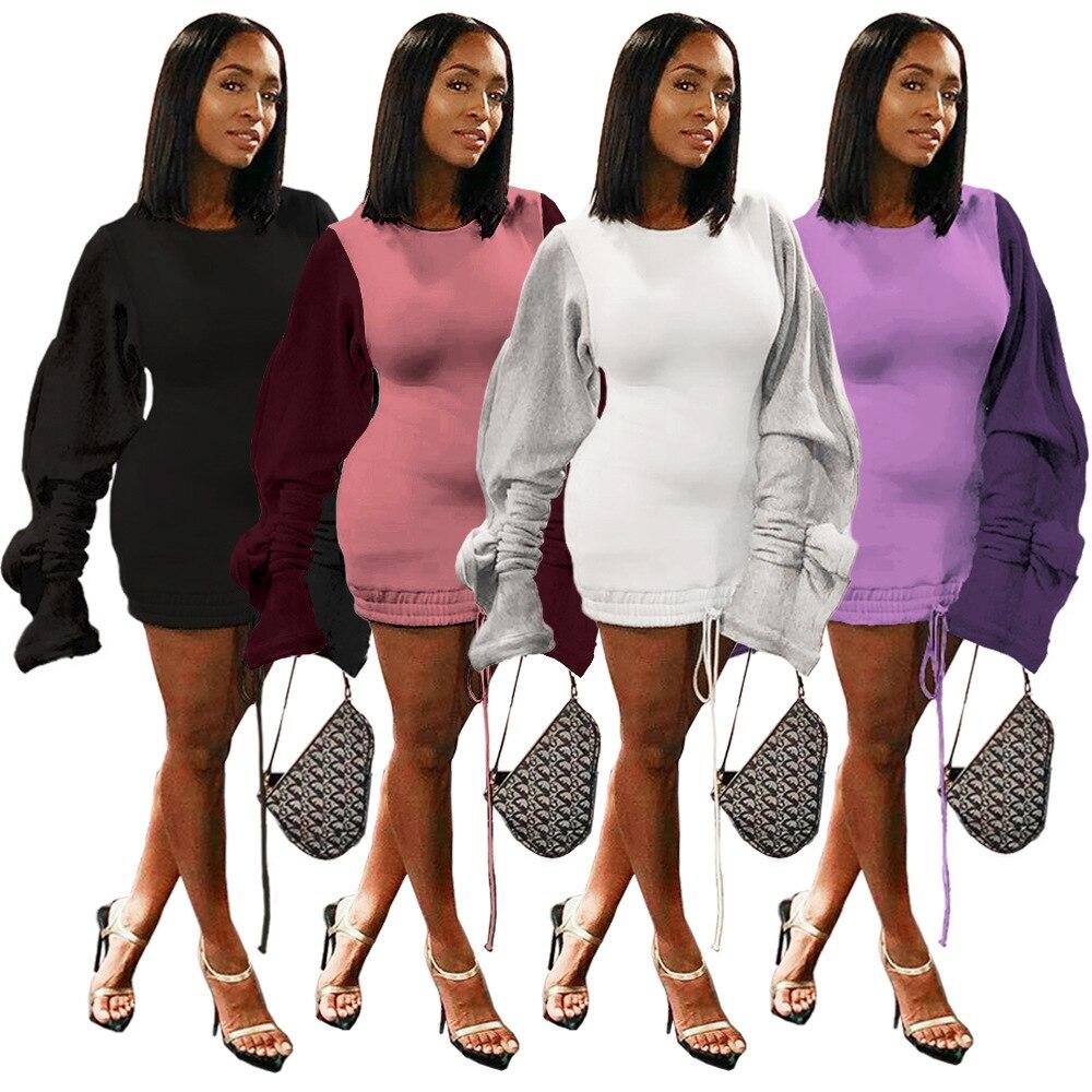 Invierno otoño mujer Mini vestido 2020 volantes empalme manga larga cuello redondo sudaderas moda Streetwear Vestidos africanos ropa