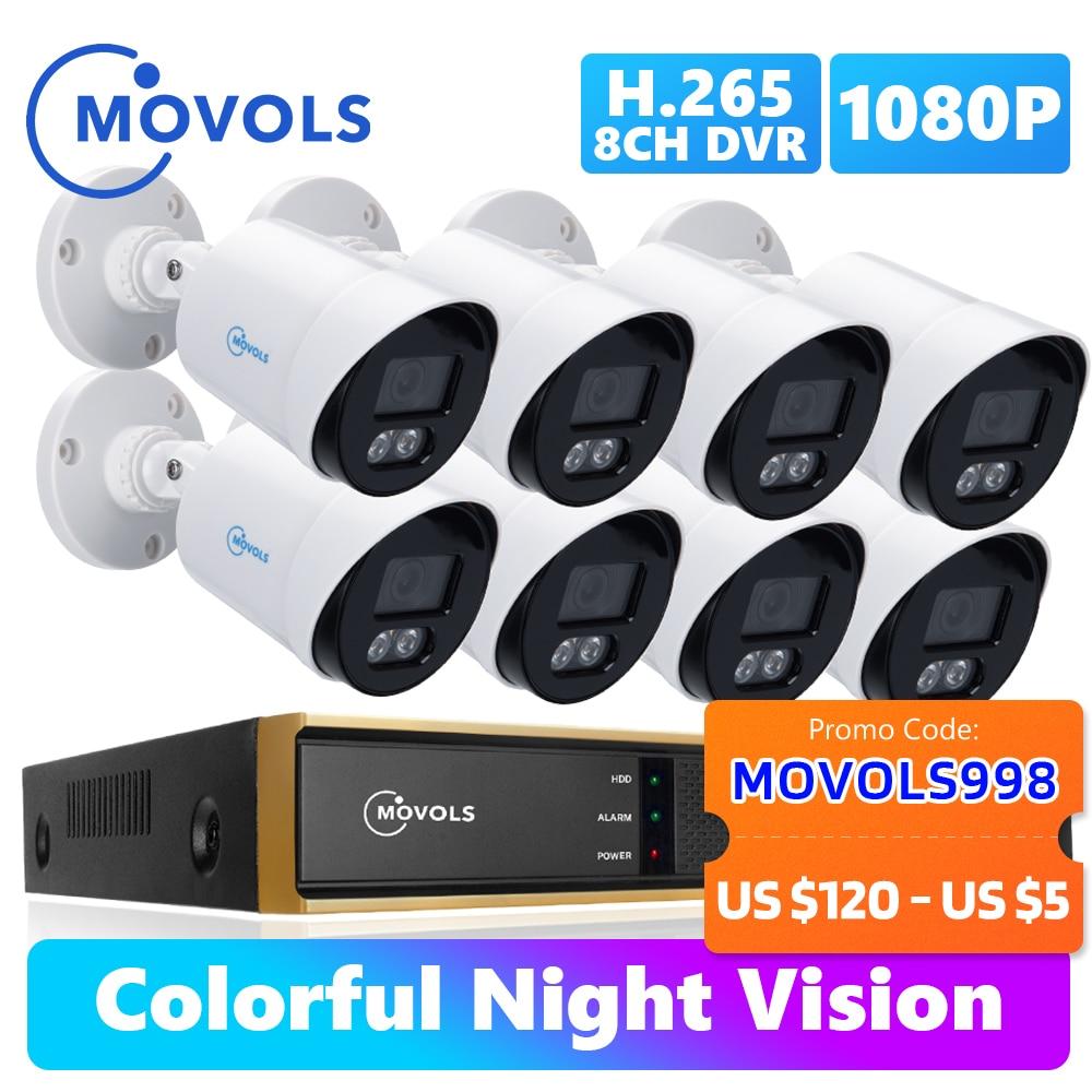 Movols 1080P AI красочная система ночного видения CCTV H.265 + наружный водонепроницаемый комплект видеонаблюдения 8CH DVR комплект камеры безопасности | Безопасность и защита | АлиЭкспресс