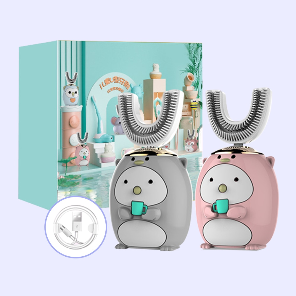 Children's 360-degree Ultrasonic Smart Electric Toothbrush USB Rechargeable Silicone Teeth Brush Five-speed Mode Cartoon Pattern