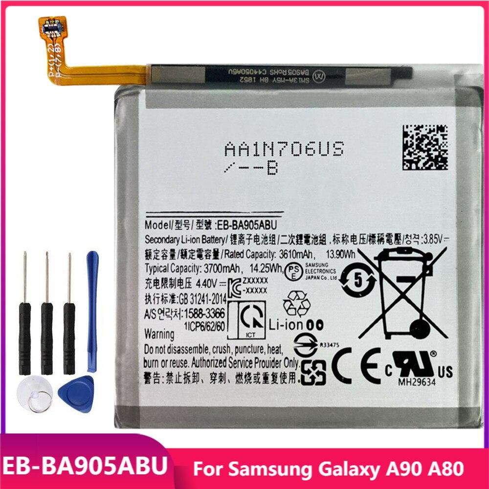 Оригинальная Аккумуляторная батарея для телефона Samsung Galaxy A90 A80, сменные аккумуляторные батареи 3700 мАч с бесплатными инструментами
