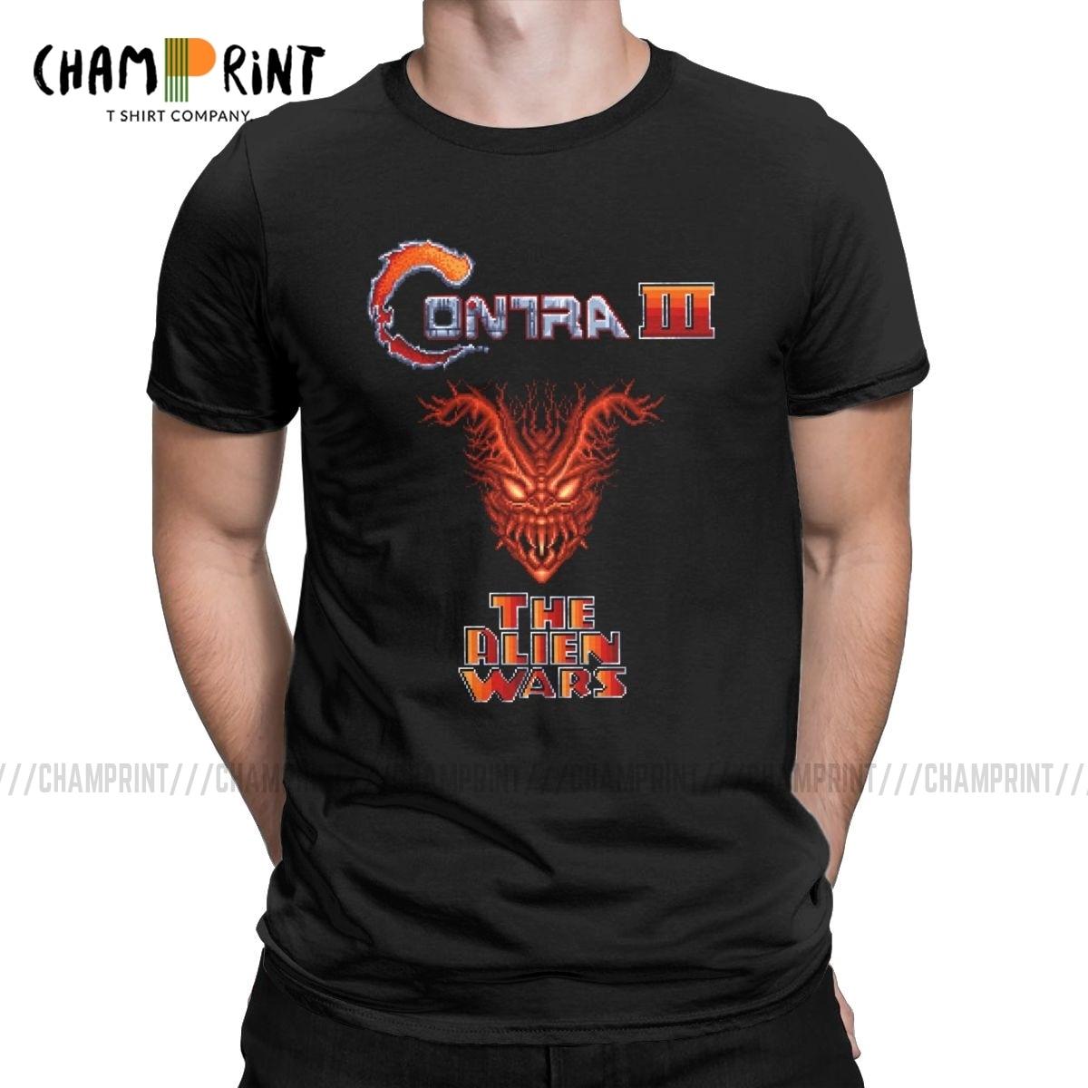 Contra III The Alien Wars t-shirt hommes Vintage T-Shirts NES rétro jeu vidéo t-shirt manches courtes vêtements cadeau danniversaire