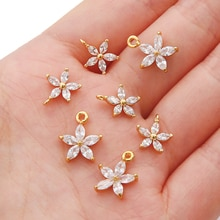Five Petal Pendant DIY With Zircon Stone for Jewelry Findings Components Jewelry Making Made Brass 1