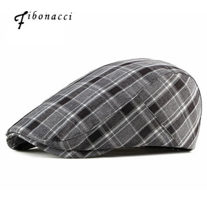 Fibonacci Newsboy Caps Fashion Stripe Lattice Berets Hat Women Men Spring Summer Plaid Visors Casual Duckbill Flatcap Hat