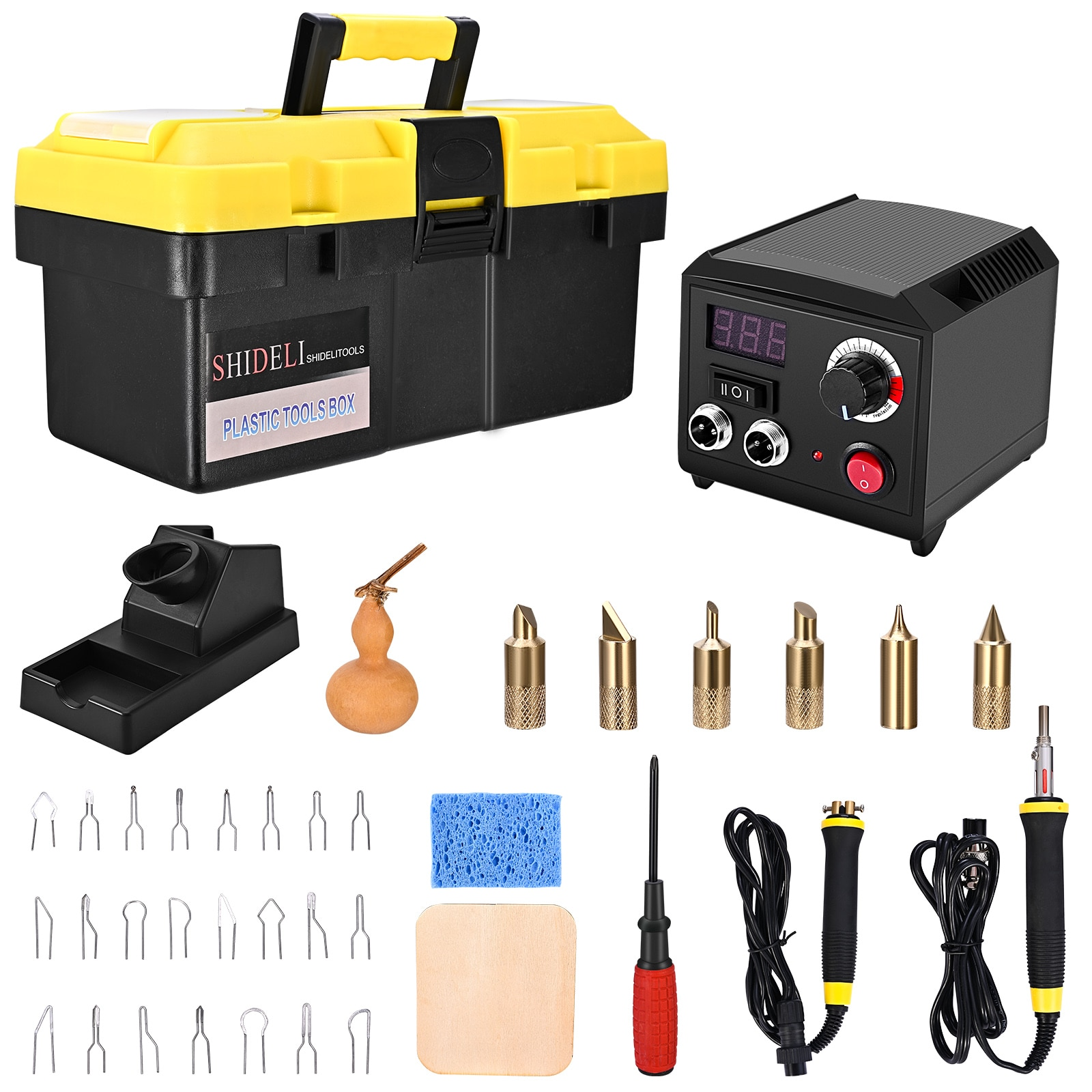 Professional Wood Burning Kit Pyrography Machine With Digital Display Adjustable Temperature Double Socket Dual Pen Tool Box