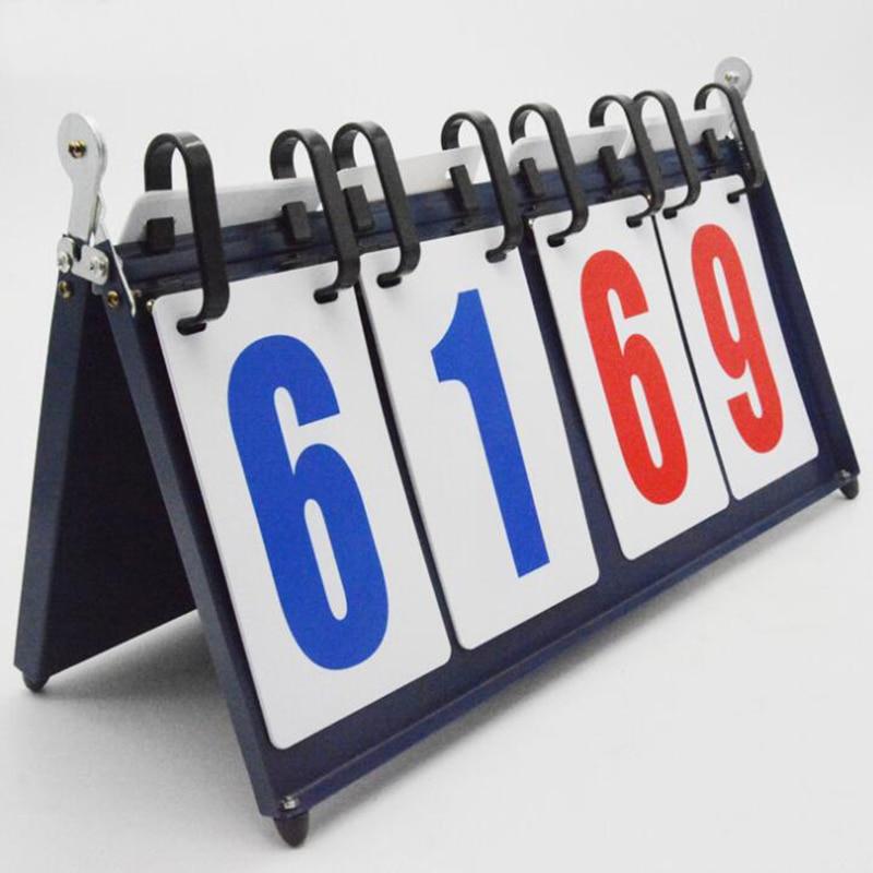 Basketball Scoreboard 4-Digit 99-99 Pages 1KG Metal Tennis Score Recorder Portable Badminton Scorer