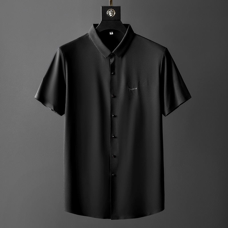 Mens Ice Silk Shirt short Sleeve luxury Shirts Cool Black Casual Shirts Camisa Social Masculina Street Wear shirts Menswear
