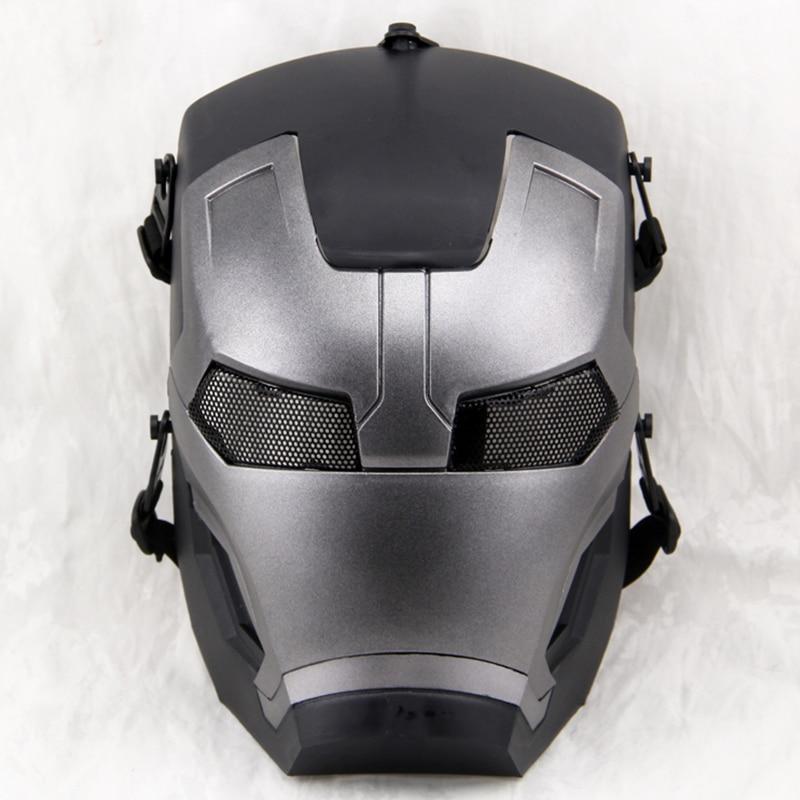 Маска на все лицо в стиле милитари, с сетчатым черепом Железного человека, для пейнтбола, страйкбола, косплея, Хэллоуина, вечеринки, самурая