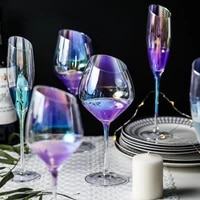 rainbow ionic crystal wine champagne beveled goblet cup glassware kitchen dining bar hotel party wedding drinkware