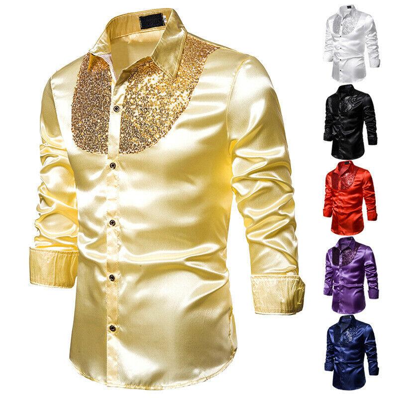 Camisa de vestir de boda de manga larga para hombre suave y cómoda camisa de negocios de brillo para hombres camisa Formal de lentejuelas estilo inglés para hombres tops