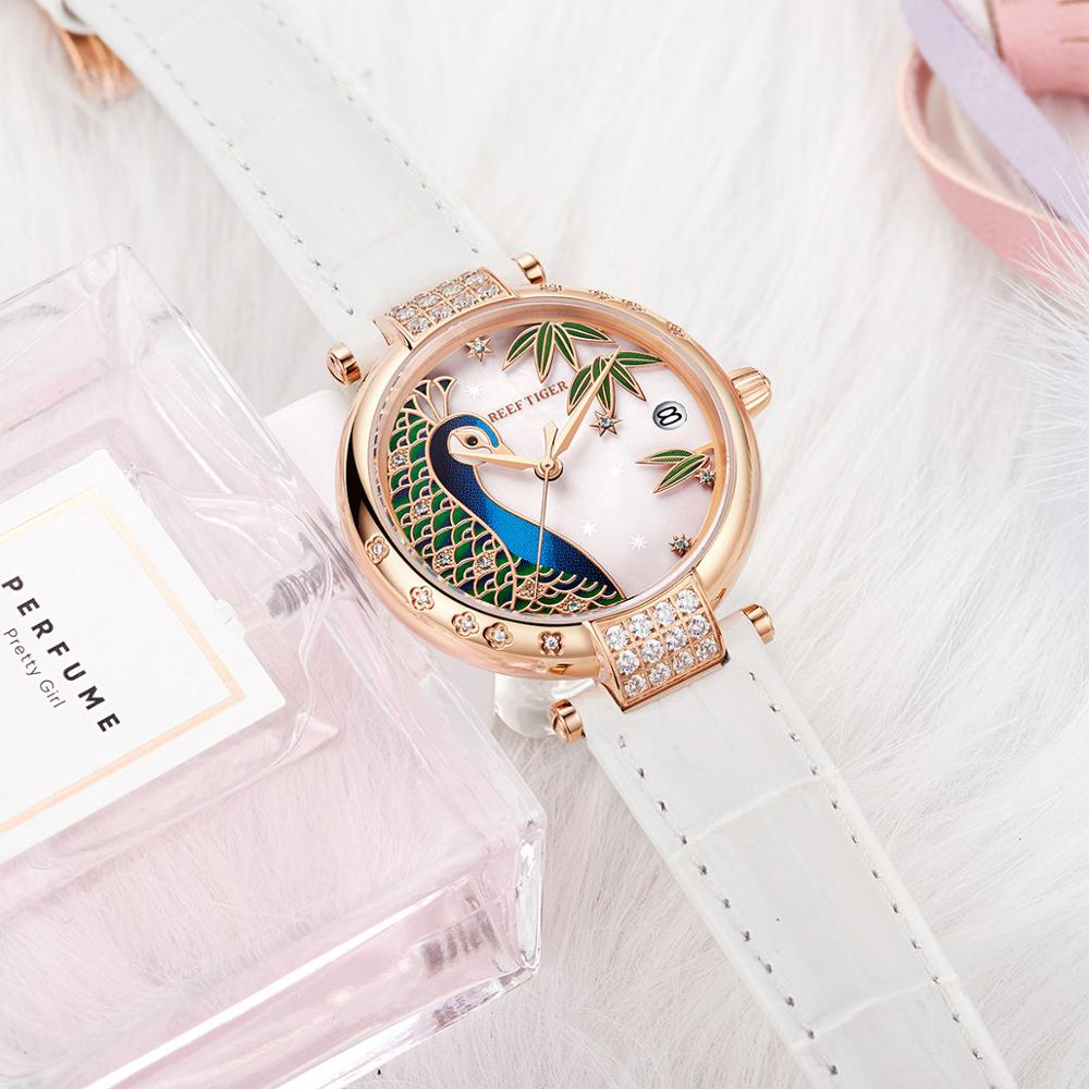 2021 Reef Tiger/RT Top Brand Luxury Gold Rose Women Fashion Casual Automatic Watch Leather Strap For Women RGA1587 enlarge