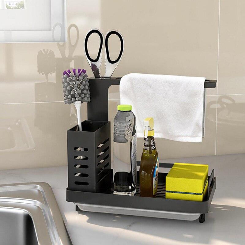Нержавеющая сталь губка мыльная щетка держатель кухонная раковина Caddy Органайзер с поддон Премиум сушилка для кухни Органайзер