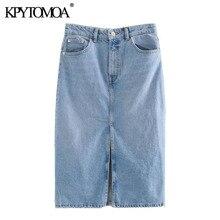 KPYTOMOA femmes 2020 Chic mode taille haute Denim Midi jupe Vintage veste pour homme poches avant évents femme jupes Faldas Mujer