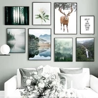 jungle sunshine white rose flower mountain wate wall art canvas painting nordic posters and prints wall pictures for living room