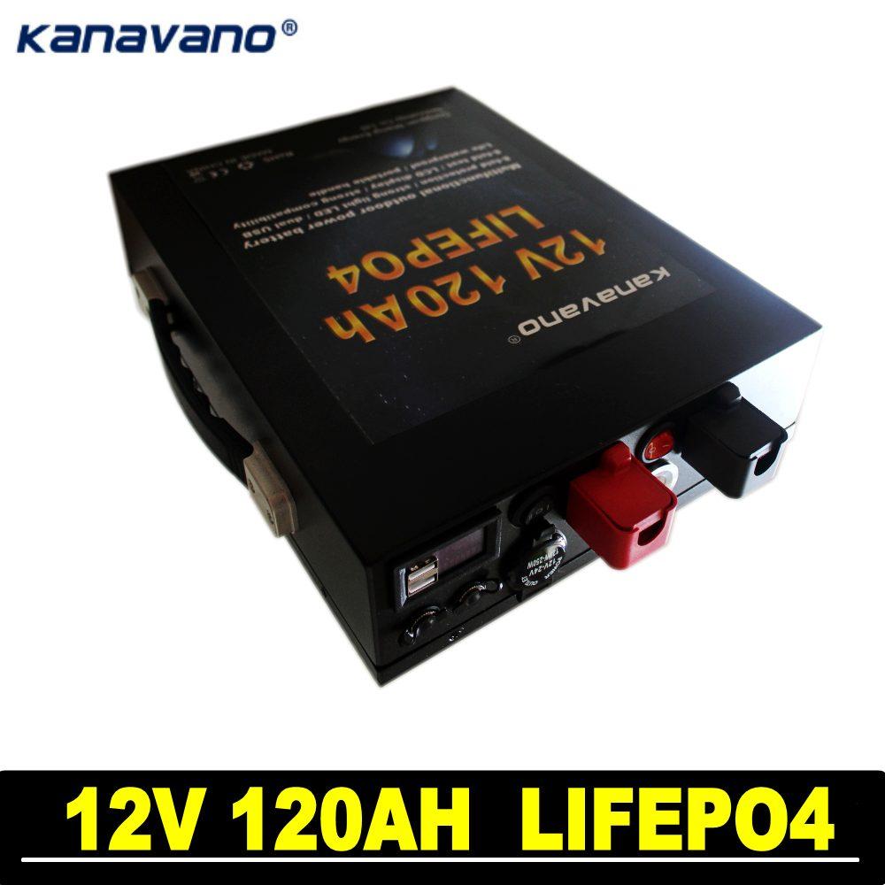 12,8 V 120AH LiFePo4 batería de litio de gran capacidad de fosfato de hierro para RV y encendedor de cigarrillos de iluminación led