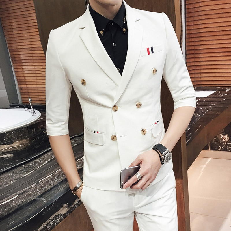 Men Suits 2020  7 Colors Summer Wedding Mens Double Half Sleeve Suit with pant Casual Blazer Slim suit
