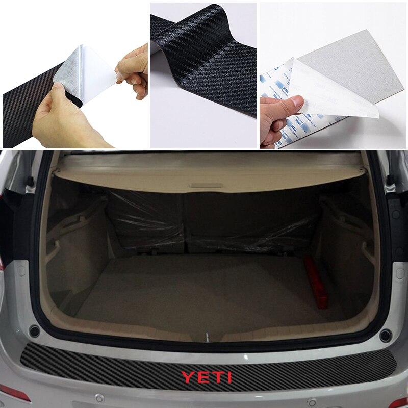 Car Rear Bumper Trunk Tail Lip PU Stickers for Skoda YETI Carbon Fiber Protection Sticker Car Accessory