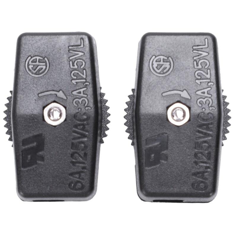 2 uds carcasa de plástico negro en/a con rueda de la lámpara de luz interruptor inline AC 125V 6A