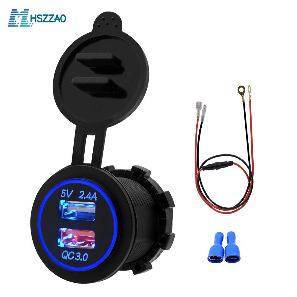 5V 2.4A QC3.0 consola central doble cargador USB + línea de 60cm, accesorios modificados para teléfono ipad GPS suministros de coche fuente de alimentación