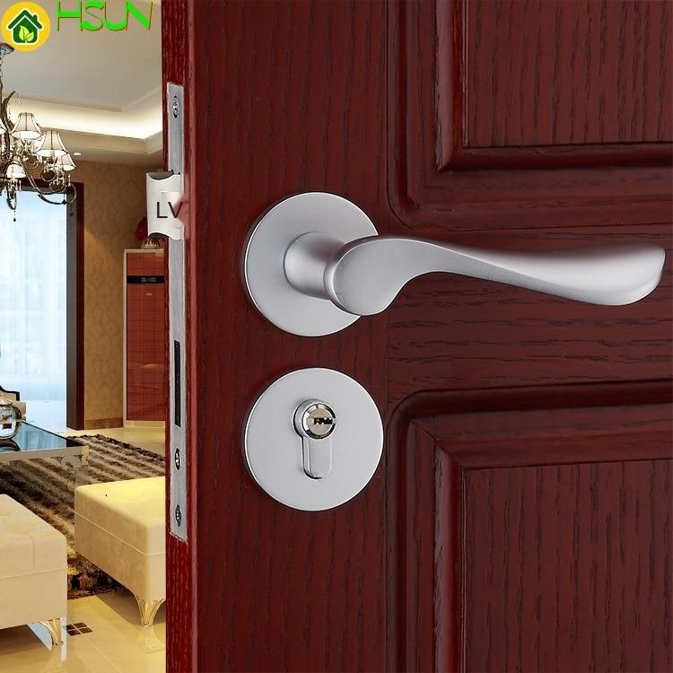 قفل ميكانيكي ، ألومنيوم ، صلب ، للمساحة الأوروبية ، قفل باب من الخشب الصلب به فتحة لغرفة النوم