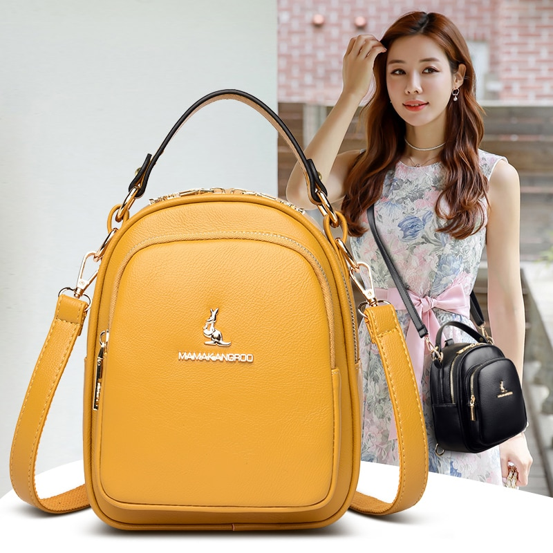 Women's Yellow Leather Backpack Small Multifunction Backbag Elegant Solid Color Female Backpack Casual Travel Backpacks for Girl