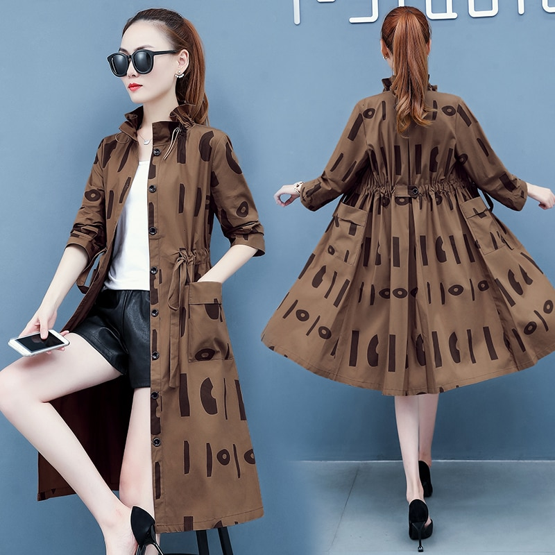 Primavera otoño gabardina para mujer corbata cintura fina plumero abrigo rompevientos holgado largo plisado bolsillos grandes