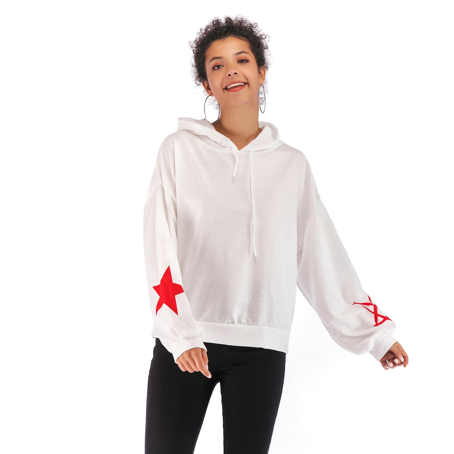 Sudadera con capucha negro/blanco manga larga jerseys otoño Casual suelto cinco estrellas estampado femenino HoodiesTops