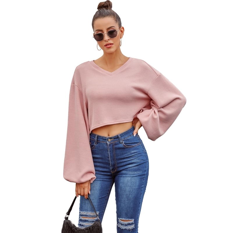 Women Long Sleeve Sexy V-Neck Knitting Sweater Casual Loose Pullover Short Tunic enlarge