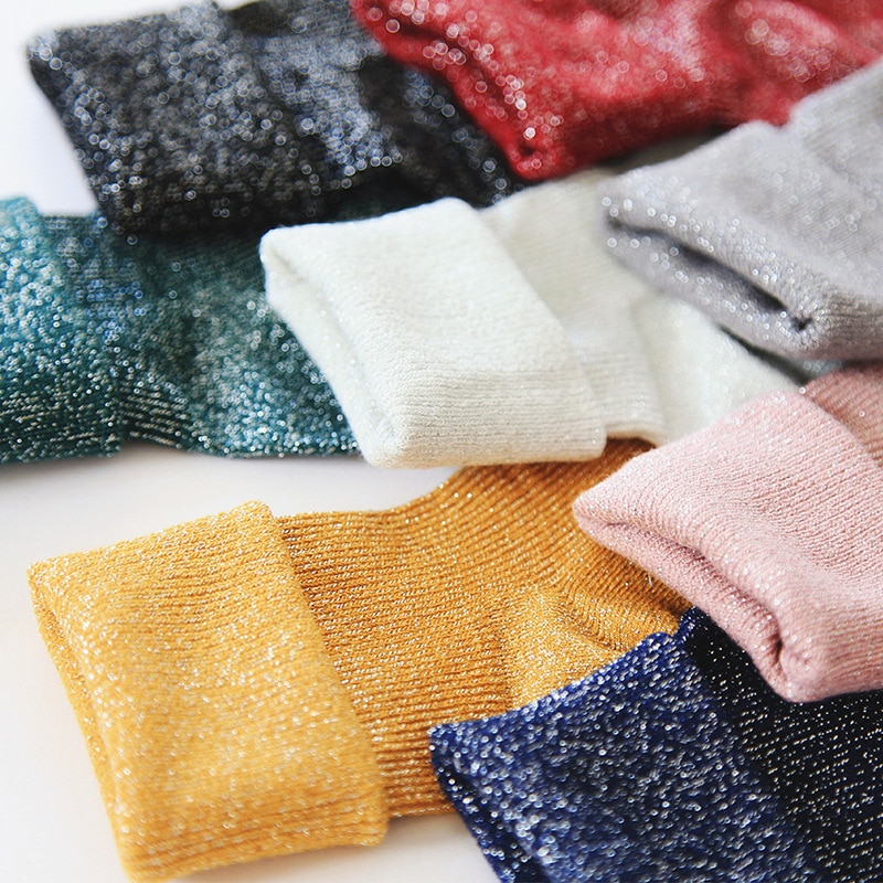 Winter Cotton Solid Shiny Woman Simple Socks Fashion Art Fold Female Student Thick Warm Socks Shiny Metallic Line Sox Trendy