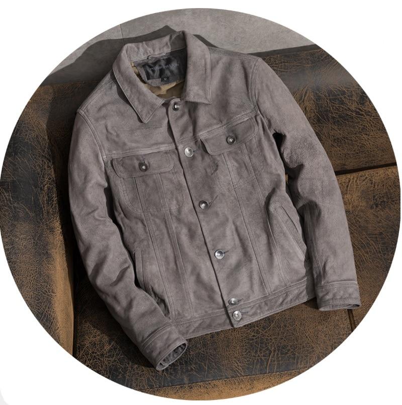 Abrigo esmerilado de cuero de vaca, chaqueta de cuero genuino 100% para hombre, ropa clásica Vintage gris, ropa informal de calidad