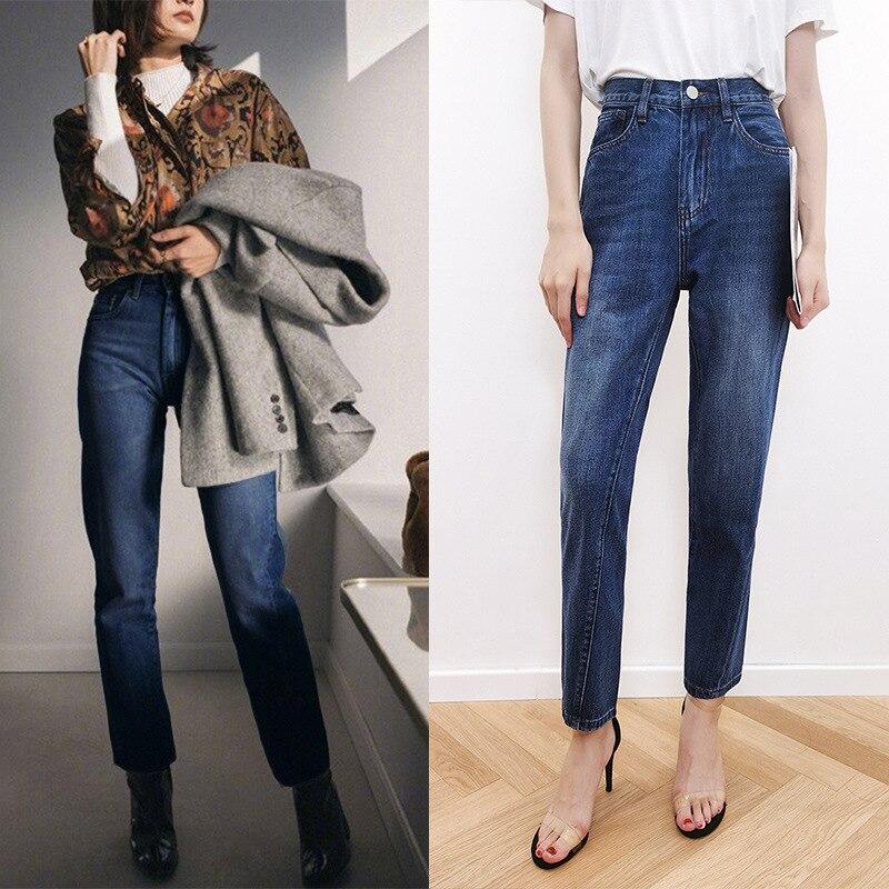 جينز نسائي سروال جينز 2021 صيفي رقيق حديث أزرق دينم جينز عالي الخصر مستقيم الساق 100% قطن
