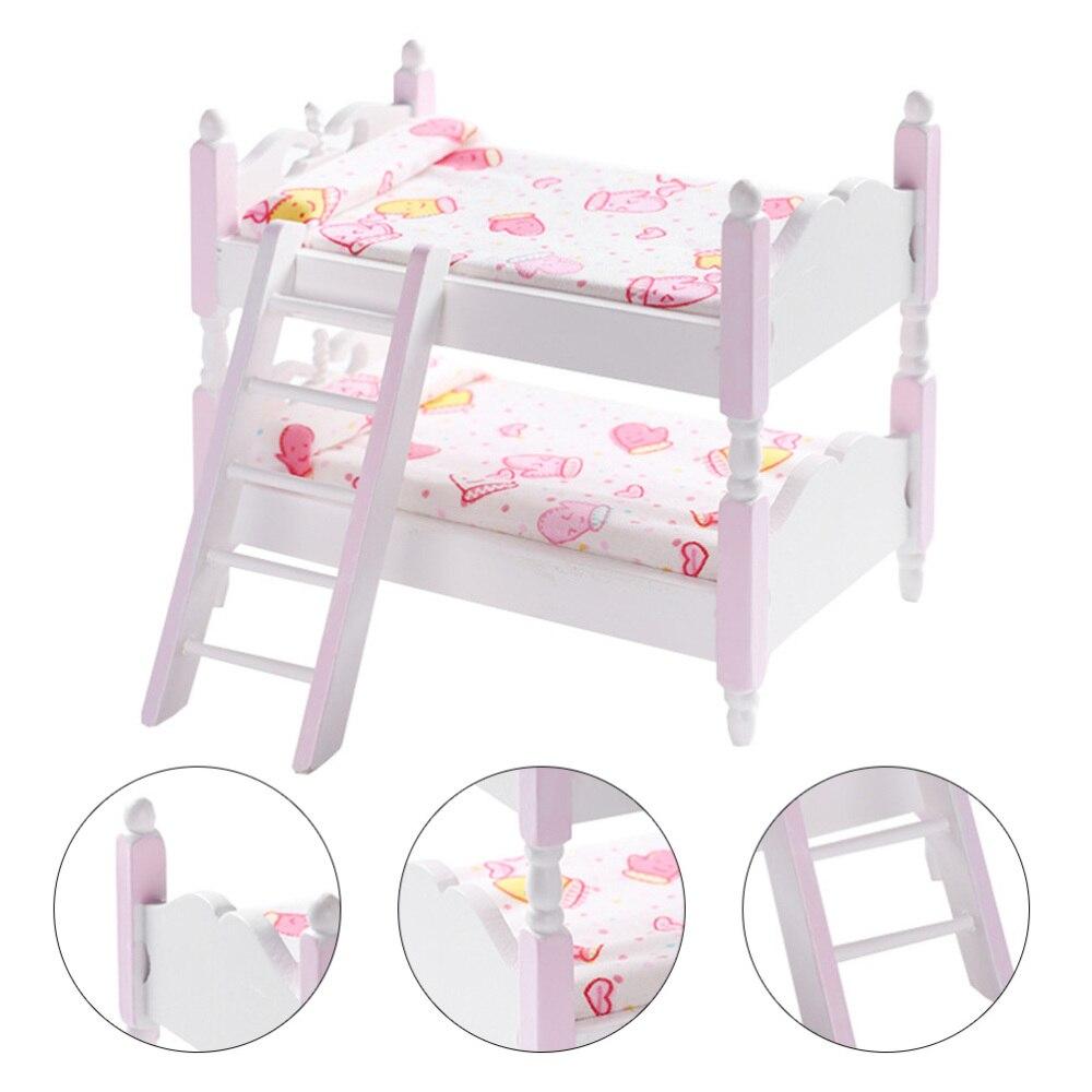 1 Juego de literas robusta primera miniatura de madera duradera 1/12 escala molde litera muebles para niños casa de muñecas niños