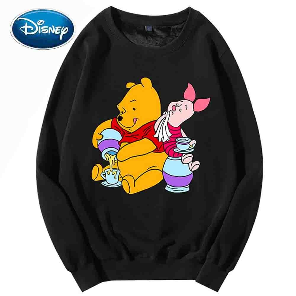 Disney Sweatshirt Winnie the Pooh Bear Pig Cartoon Print O-Neck Pullover Couples Unisex Women Long Sleeve Tops S - XXL 8 Colors