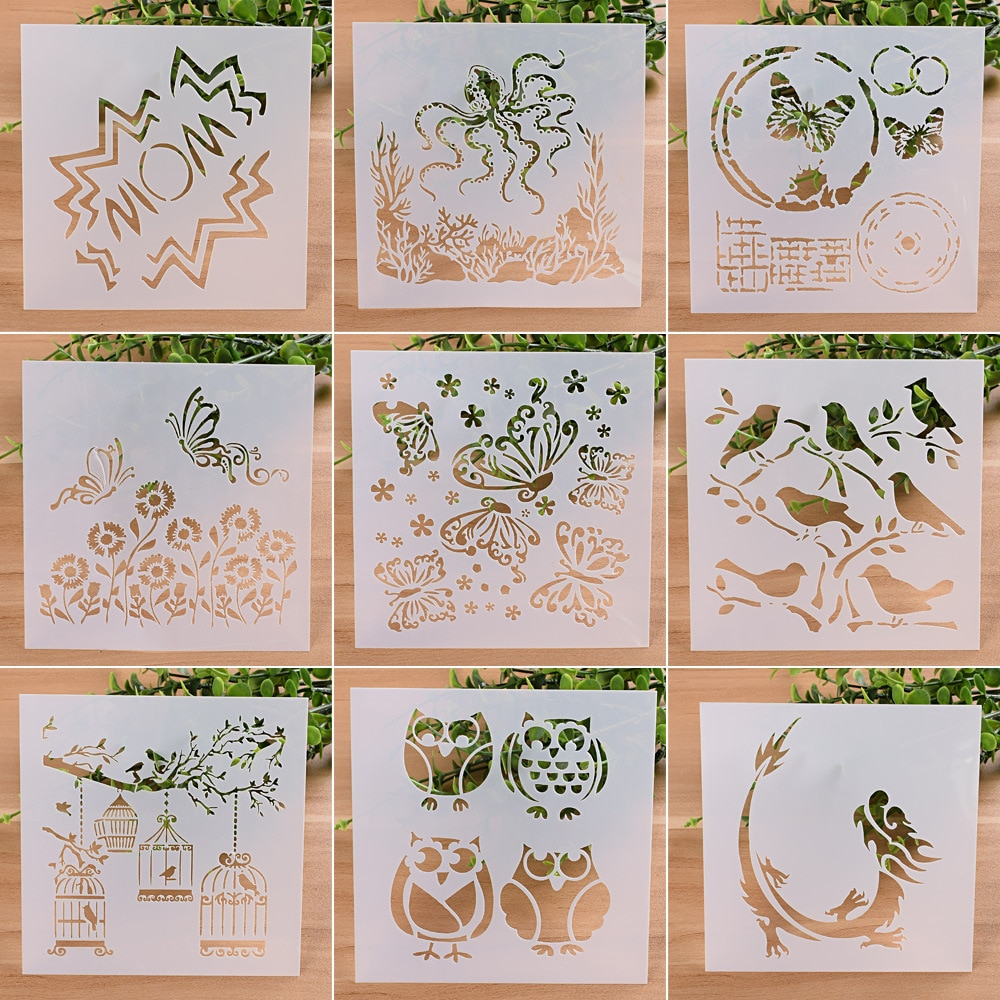 New 9Pcs/set 13cm Animals Owl DIY Craft Layering Stencils Painting Scrapbooking Stamp Embossing Album Decorative Card Template