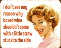 tin sign wine with a straw white 30x20cm