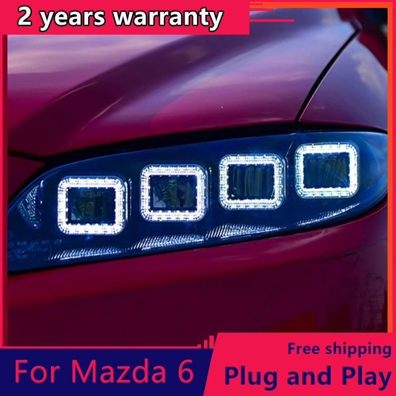 Pour Mazda 6 phare 2004-2012 pour Mazda 6 phare LED DRL feux de croisement 4 LED lentille dynamique streamer clignotant pour Mazda 6