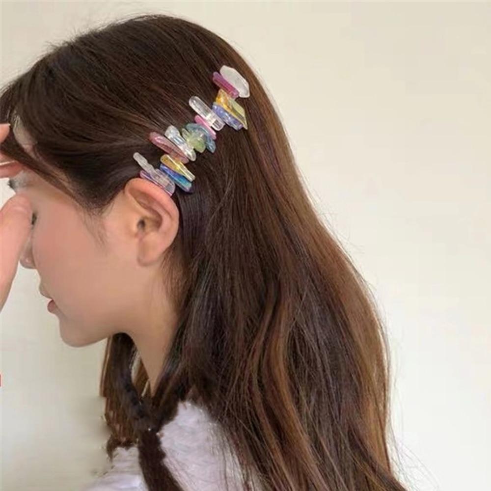 Color piedra de la naturaleza pelo Clip Irregular pinzas de pelo para mujer Bohemia horquillas transparente hecho a mano broches accesorios para el cabello