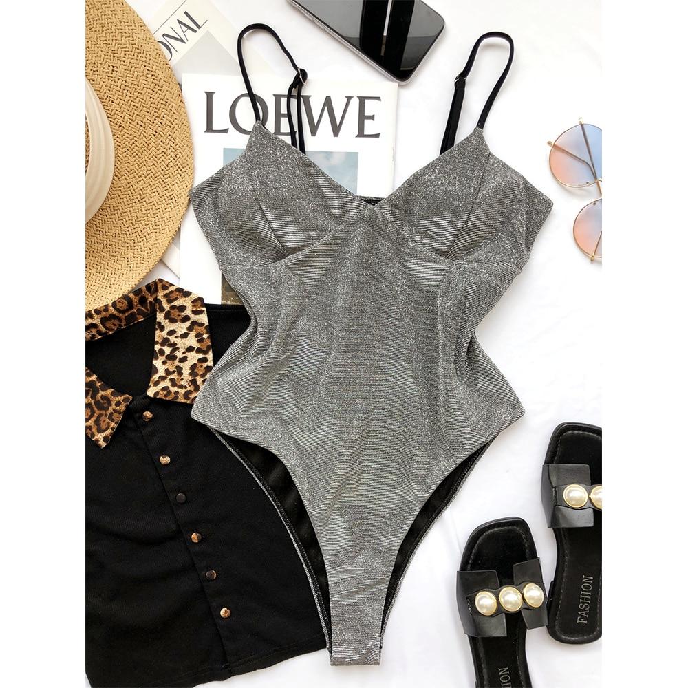 One Piece Swimsuit 2021 Flash Swimwear Women Sexy Bodysuit Swimsuits Push Up Monokini Brazilian Bathing Suit Beachwear Swim Wear