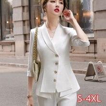 Pantalones de traje de mujer de alta calidad, conjunto de dos piezas, novedad de 2020, chaqueta blazer blanca elegante de verano para mujer, vestimenta de negocios 2020