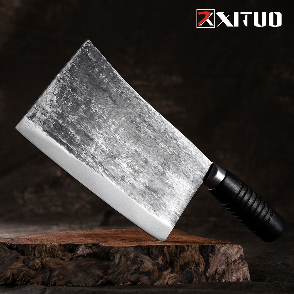 Cuchillo de Chef XITUO hecho a mano, cuchillo de cocina de alto carbono forjado, cuchillo profesional para cortar carne, verduras, herramientas de cocina tradicionales