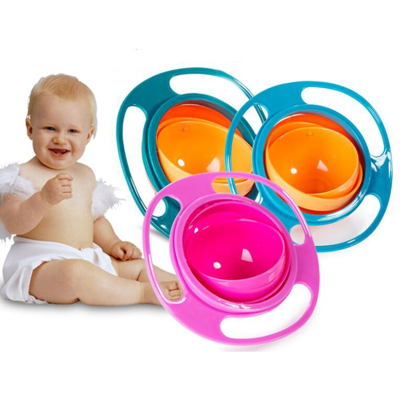 Universal Gyro Bowl Design Children Bowl 360 Rotate Spill-Proof Gyro Bowl Solid Baby Kids Training Feeding Bowl Practice Dishes