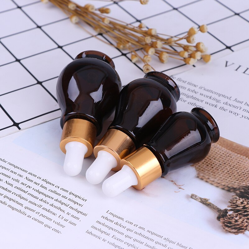 10/20/30ml Amber Glass Dropper Bottle essential Oil Perfume Bottles Empty Container Travel Refillable Empty Bottle